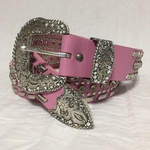 Nocona Pink Leather Rhinestone Western Belt